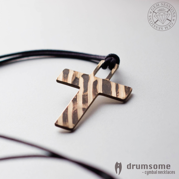 "Necklace ""CROSS"" made of drum cymbals (Drumsome 